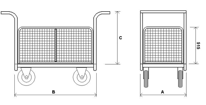 ТС — Платформенная тележка с сетчатыми бортами