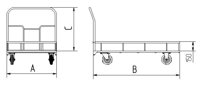 ТПБ - Тележка платформенная с ограждающим бортиком