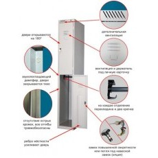 Модульный металлический шкаф для одежды 2-х дверный ШРС 12-400